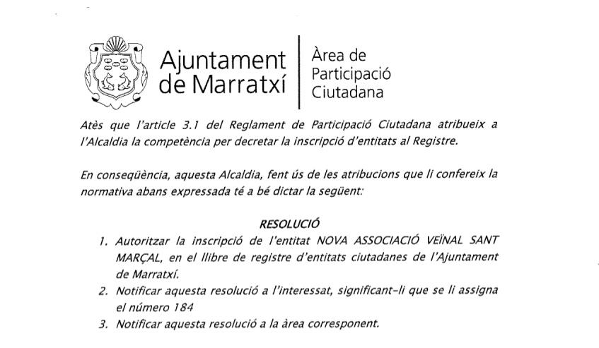 Retall resolució inscripció Registre entitats ciutadanes